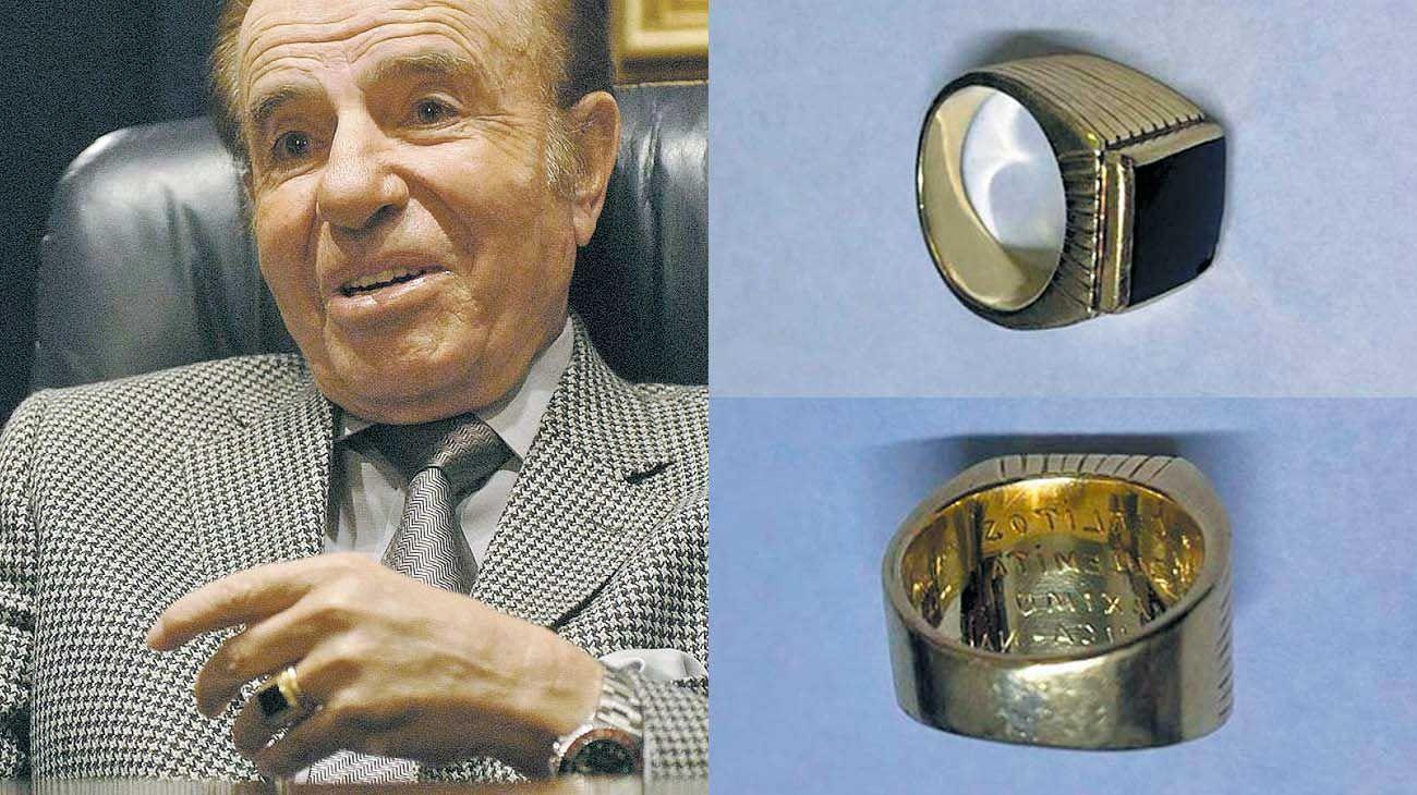 Regalo de su padre. El anillo tiene grabados los nombres de sus tres hijos, Carlitos, Zulemita y Máximo. Es una réplica exacta del que le había regalado su padre y que había extraviado.
