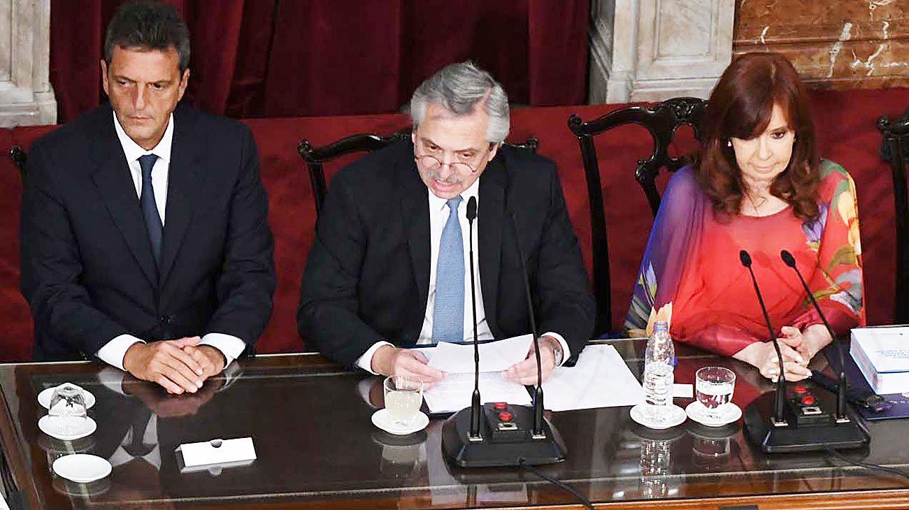 1º de marzo de 2020. Alberto Fernández junto a Cristina Kirchner y Sergio Massa abre el año legislativo.