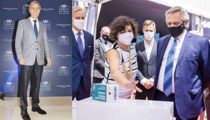 Anuncio. El dueño de Laboratorios Richmond está en Moscú. Ayer, el anuncio del convenio con Rusia hizo subir las acciones de su empresa. Alberto Fernández y la ministra Carla Vizzotti visitaron el laboratorio de Figueiras el 4 de febrero.