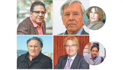 Protagonistas. Arriba, Alberto Salcedo y Amos Oz. Abajo, Gerard Depardieu y Andrés Roemer. En círculos: arriba, Galia Oz, la hija del escritor israelí, y la bailarina Itzel Schnnas, denunciante de Roemer.
