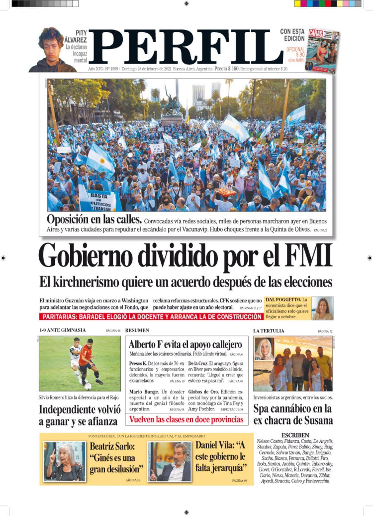 La tapa de Diario PERFIL del domingo 28 de febrero de 2021
