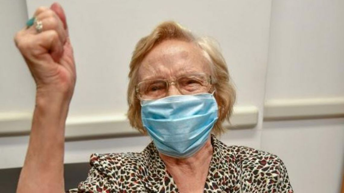 Elsa Nélida Alonso, of Cañuelas, was the 1,000,000th person to receive a vaccine against Covid-19 in Argentina.