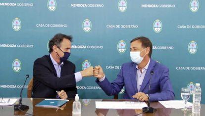 Radical. El viernes, el ministro Katopodis estuvo con el gobernador de Mendoza, Rodolfo Suárez.