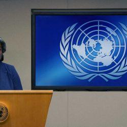 010  La embajadora de Estados Unidos ante las Naciones Unidas, Linda Thomas-Greenfield, y la presidenta del Consejo de Seguridad, habla durante una conferencia de prensa para el programa de trabajo del Consejo de Seguridad en marzo en la sede de la ONU en Nueva York | Foto:AFP