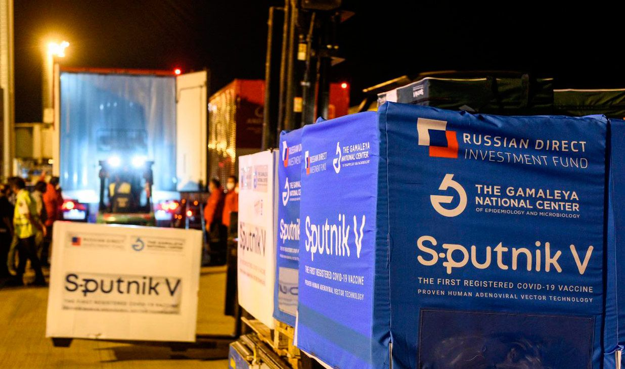A new shipment of Sputnik V vaccines arrived at Ezeiza international airport on Sunday at 19.53 hrs.