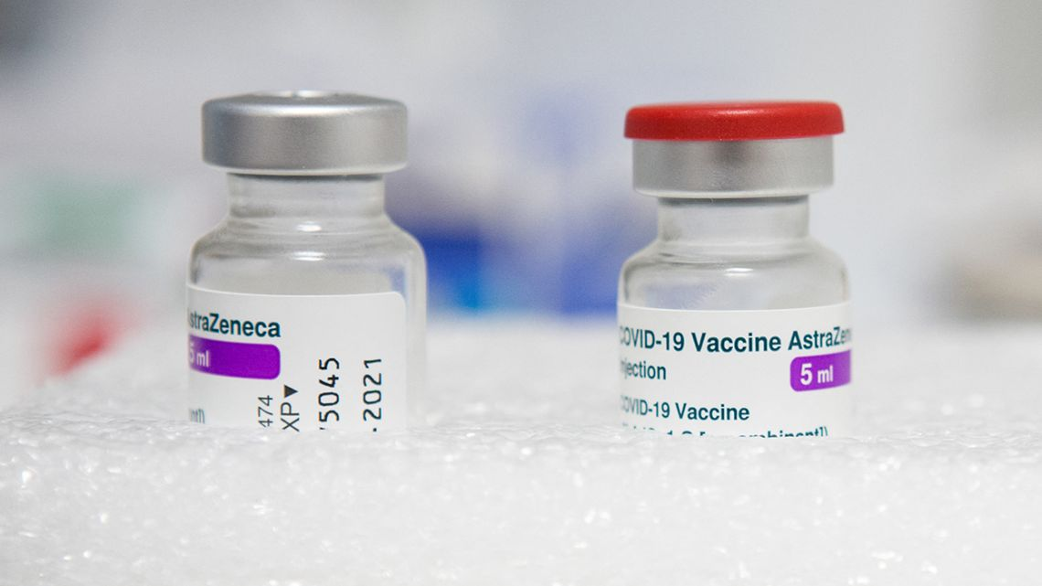 Vials of AstraZeneca Covid-19 vaccine, at the office of a general practitioner in Gragnague near Toulouse, southern France, on February 26, 2021.