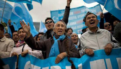 """Las protestas de los uigures que temen una """"limpeza étcnica""""."""
