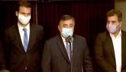 Mario Nergri, Maximiliano Ferraro y Cristian Ritondo tras el discurso de Alberto Fernández.
