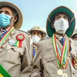 Los veteranos de guerra son vistos durante la celebración de la 125a victoria de Adwa, en la plaza Menelik en Addis Abeba, Etiopía | Foto:AFP