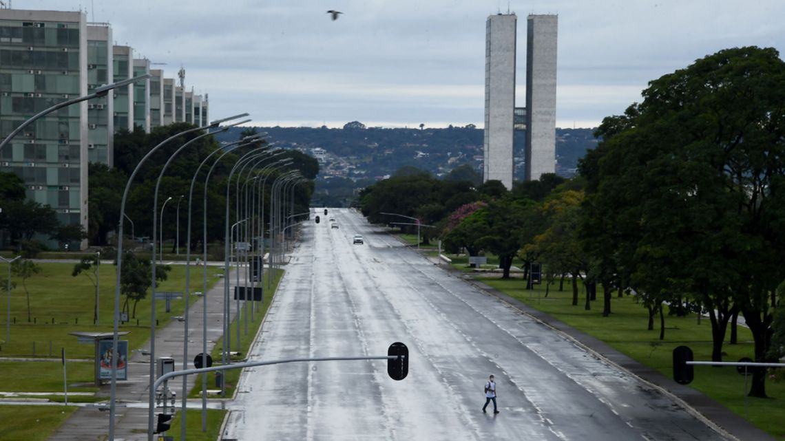 General view of the Esplanade of Ministries in Brasilia, seen on the first day of lockdown in the Brazilian capital decreed by Governor Ibanes Rocha to fight a surge in cases of the novel coronavirus, COVID-19, on February 28, 2021.