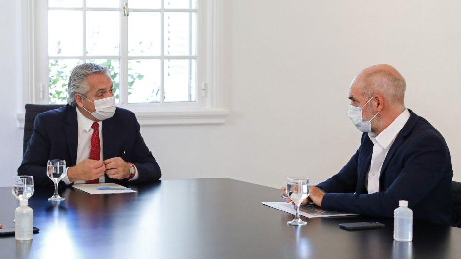 Horacio Rodríguez Larreta con el presidente Alberto Fernández