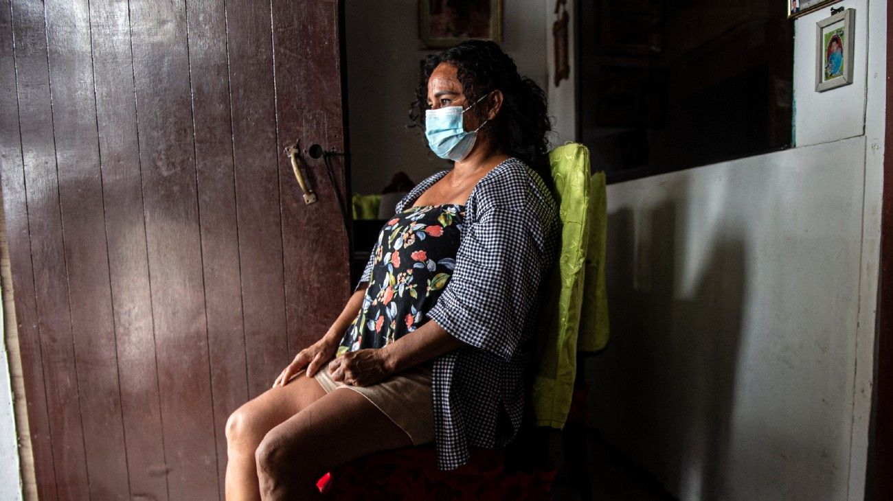 Nancy Sánchez, 48, poses for a picture at her home in Villa El Salvador, in the southern outskirts of Lima on March 03, 2021. Nancy was sterilised without her consent after the birth of her last daughter Nicole.