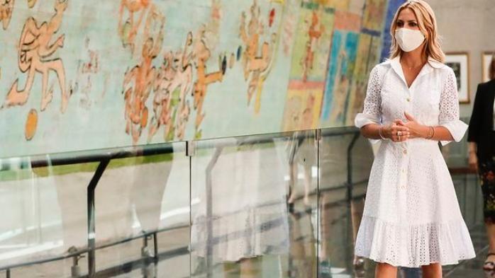 El look de Fabiola Yáñez en el homenaje por el Día Internacional de la Mujer