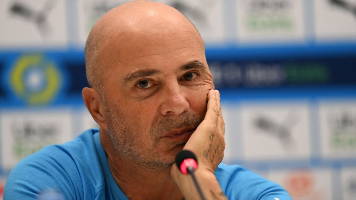 Marseille's new Argentine head coach Jorge Sampaoli gives his first press conference held for his presentation at the Velodrome stadium in Marseille, south-eastern France on March 9, 2021.