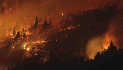 Incendio descontrolado en la zona del Hoyo, rodeando El Bolsón.