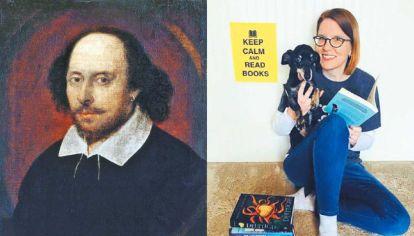 Shakespeare & Co. Arriba, el bardo inglés. Al lado, la profesora Amanda McGregor.