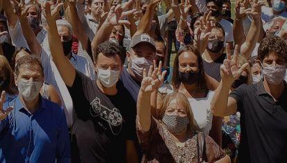 APOYO DE LOUSTEAU. De Loredo y Bee Sellares, los candidatos de Sumar que contaron con el respaldo del senador..