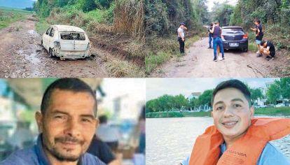 Víctimas. Victor Brito (izq.) y Gonzalo (der.) vivían juntos. Aparecieron asesinados en distintos puntos del Departamento La Cocha, en el sur tucumano. El coche del joven fue abandonado en un camino rural.