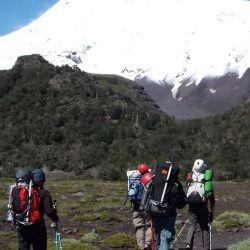Las estacas reflectivas están ubicadas en el último tramo de ascenso al Lanín.