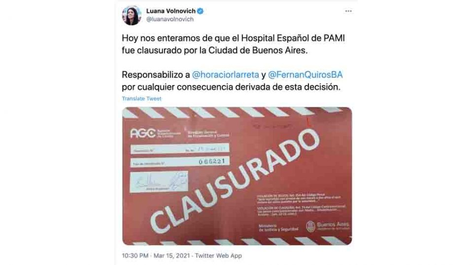 Tuit PAMI Hospital Español Volnovich
