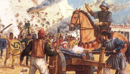 La conquista española en México.