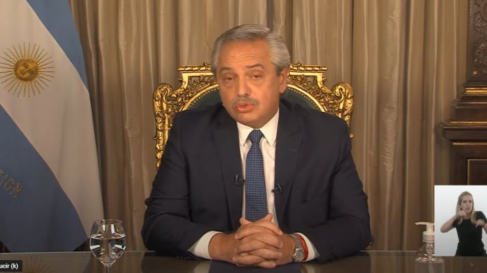 Alberto Fernández, en la cadena nacional al cumplirse un año de la pandemia en la Argentina.