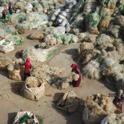 Los pescadores limpian las redes de pesca desechadas para reciclarlas en una aldea de Lianyungang, en la provincia de Jiangsu, en el este de China. | Foto:STR / AFP