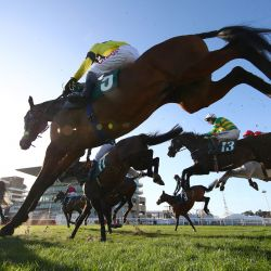 El jockey Nick Scholfield monta a Sky Pirate sobre la última valla durante la carrera de caballos de Handicap Chase de la Gran Challenge Cup anual de Johnny Henderson en el segundo día del Festival de Cheltenham en el Hipódromo de Cheltenham, en Cheltenham, Inglaterra. | Foto:Michael Steele / POOL / AFP