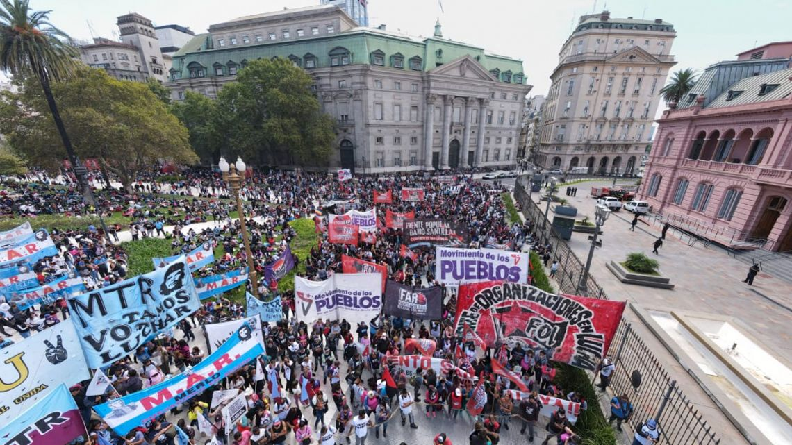 Protesters demonstrate in Buenos Aires on Thursday.