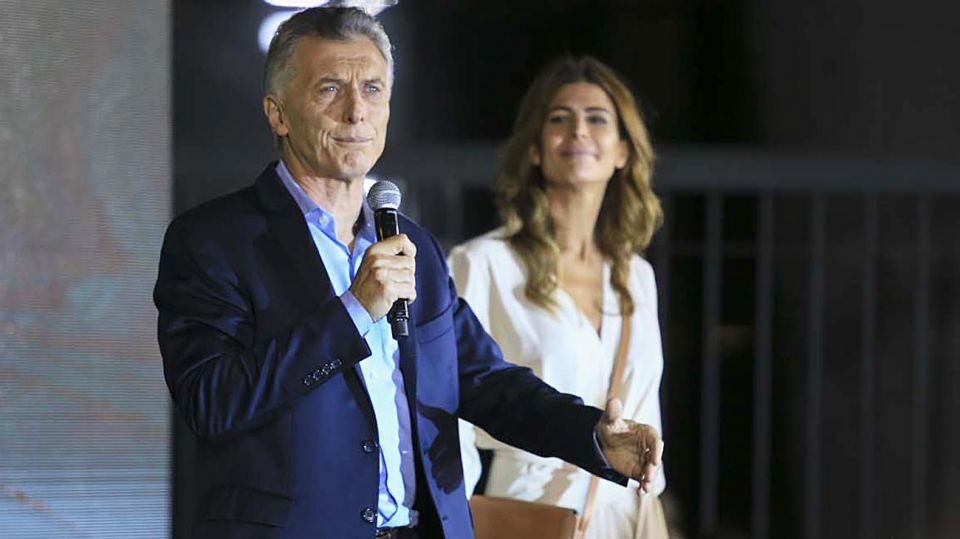 Mauricio Macri con Juliana Awada en la presentación de su libro Primer Tiempo.