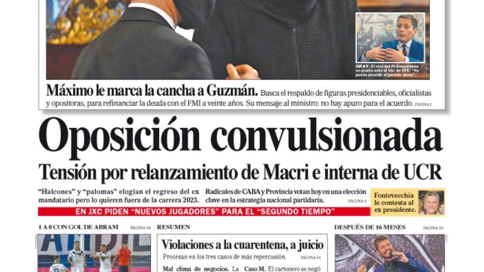 La tapa del Diario PERFIL del domingo 21 de marzo de 2021.