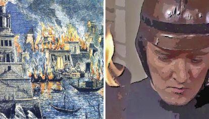 La quema de la Biblioteca de Alejandría y una escena de la película Farenheith 451, basada en el libro de Ray Bradbuy. Quemar para borrar el pasado, como si el mundo comenzara con uno mismo.