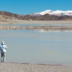 Algunos viajeros curiosos se acercan al borde la laguna Diamante, en el mismo Galán, para observar la colonia de parinas.
