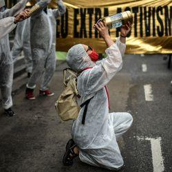 Integrantes de organizaciones ambientales se manifiestan en el Día Internacional del Agua en Buenos Aires. | Foto:Ronaldo Schemidt / AFP