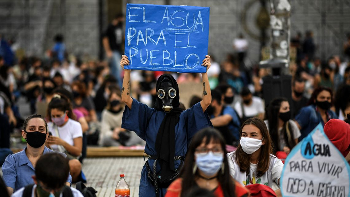 Members of environmental organisations demonstrate on International Water Day in Buenos Aires, on March 22, 2021.