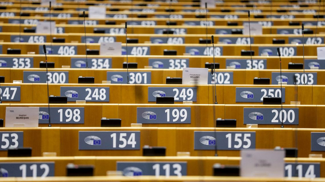 A picture shows seats in the hemicycle ahead of a plenary session of the European Parliament in Brussels, on March 24, 2021.