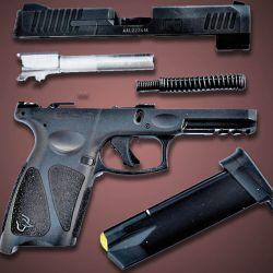 Su despiece básico se realiza exactamente igual que el de las pistolas Glock.  Sencillez y pocas  piezas es la constante.