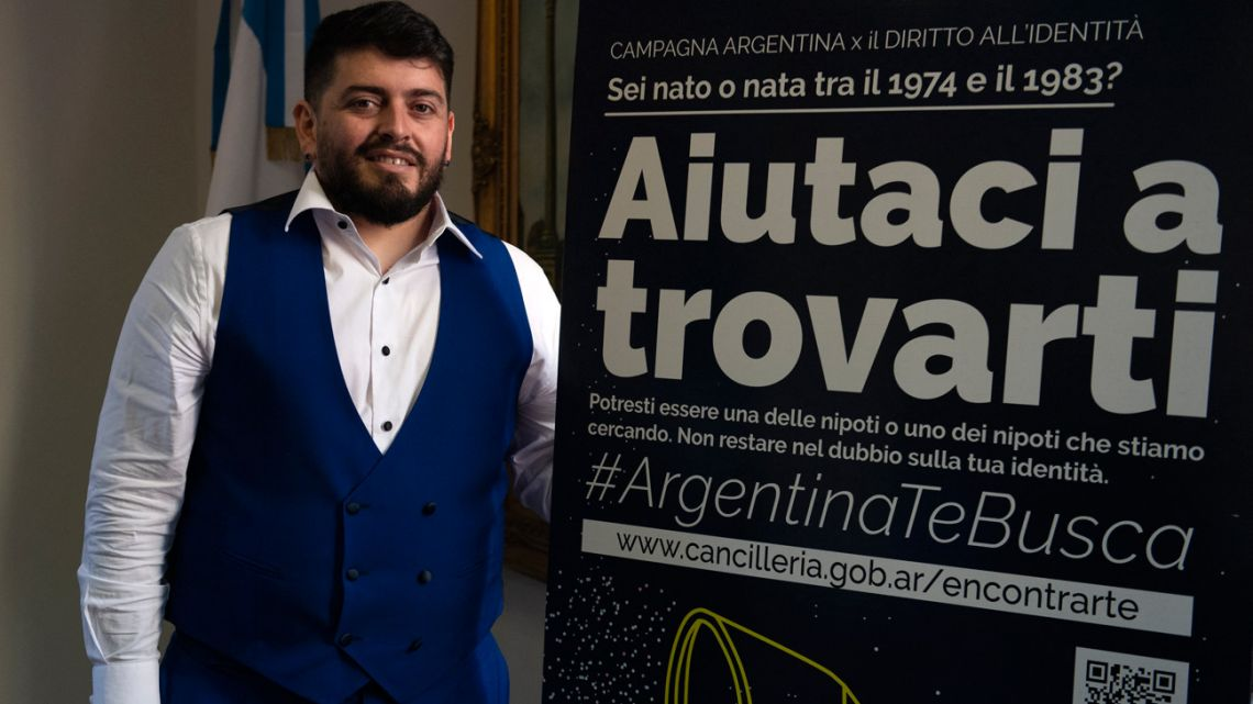 The Italian son of late football idol Diego Maradona, Diego Armando Maradona Sinagra, known as Diego Junior, poses by a poster of an International Campaign for the Right to Identity, after he was granted the Argentine nationality on March 25, 2021 during a ceremony at the Argentine Consulate in Rome. Diego Junior is joining the International Campaign for the Right to Identity which helps search for the children stolen by the 1976-1983 military dictatorship from their missing parents, and helps Italians who have had links with Argentina between 1974 and 1983 and who have doubts about their identity.