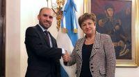 El ministro de Economía Martín Guzmán junto a la directora del FMI, Kristalina Georgieva