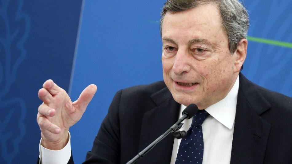 Italian Prime Minister Mario Draghi News Conference On Economic Stimulus