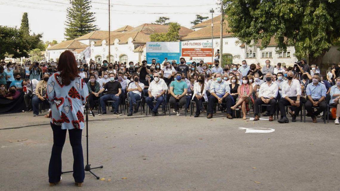 Cristina Kirchner delivering a speech.