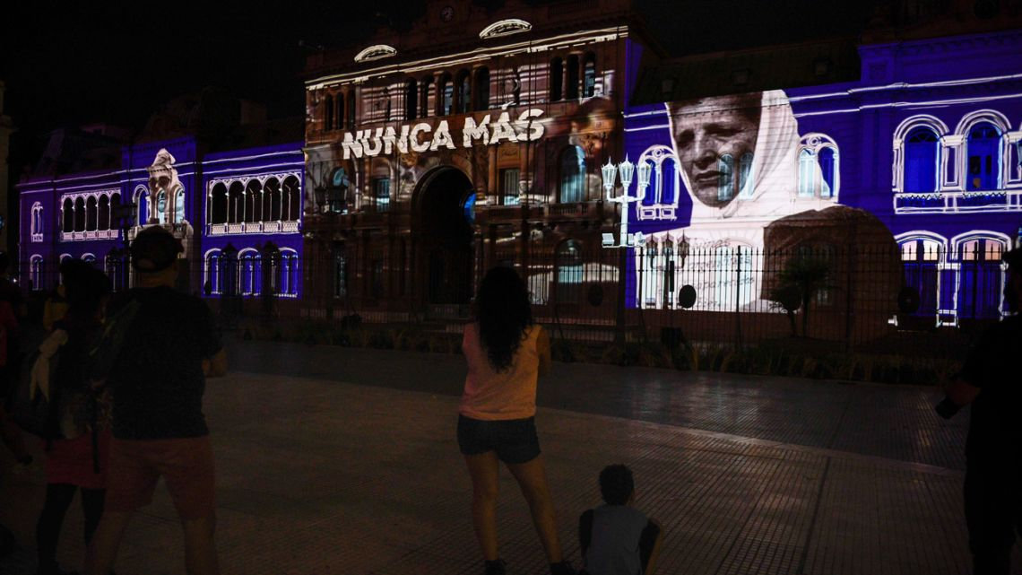 People marched on Plaza de Mayo last Wednesday to mark the 45th anniversary of the 1976 coup.