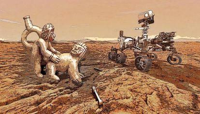 Ficción visual: Huaco erótico de la cultura Mochica ( 300-600 dC) del Perú, junto al Rover en la superficie marciana (SIGLO XXI).