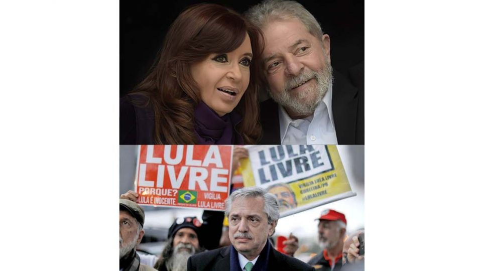 Alberto por Lula libre, y este junto a Cristina.
