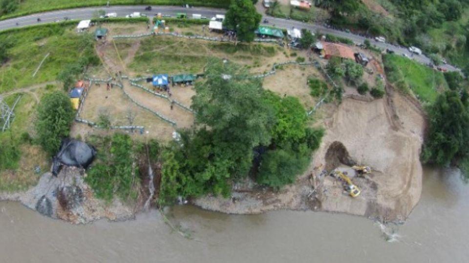 La mina de Neira, en Colombia, donde trabajadores quedaron atrapados.