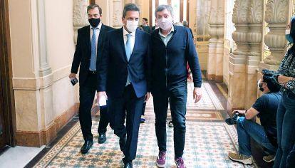 Massa y Máximo Kirchner, este sábado en Diputados.