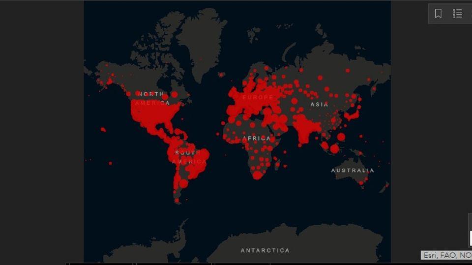 Mapa online Covid - Coronavirus - Universidad Johns Hopkins