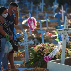 Familiares lloran durante el funeral de la víctima del COVID-19 María Estela Maris Melo, en el cementerio de Nossa Senhora Aparecida en Manaus, estado de Amazonas, Brasil.   Foto:Michael Dantas / AFP