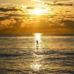 Un hombre practica surf de remo durante un amanecer en la playa de Miami Beach, Florida.   Foto:Chandan Khanna / AFP