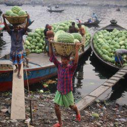 Bangladesh, Dhaka: Trabajadores descargan sandías de barcos en el río Buriganga. La mayoría de las sandías en la ciudad de Dhaka llegan en lanchas a motor desde diferentes partes del país a través del río Buriganga. | Foto:Md. Rakibul Hasan / Zuma Wire / DPA